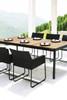 ZUDU Dining Table 220 with ZUDU Dining Armchair - Reclaimed Teak, Black Powder Coated Aluminum
