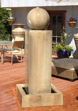 Monolith Fountain with Ball - Material : GFRC - Finish : Sierra