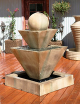 Double Oblique Fountain with Ball - Material : GFRC - Finish : SIerra