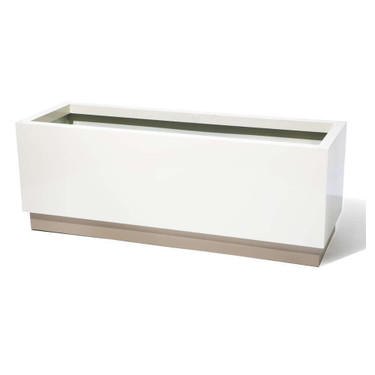 Rectangle Base Planter - Material : Aluminum - Finish Two tone linen and beige base