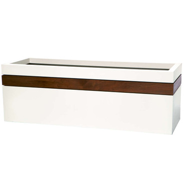 Rectangle Band Planter - Material : Aluminum with IPE Band - Finish : Linen