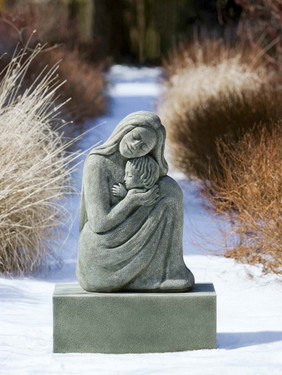 Mother and Child Statue - Material : Cast Stone - Finish : Alpine Stone