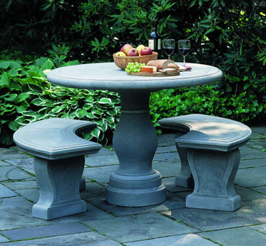 Palladio Table and Benches - Material : Cast Stone - Finish : Greystone