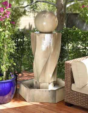 Vortex Fountain with Ball - Material : GFRC - Finish : Sierra
