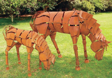 Grazing Metal Horse
