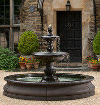 Caterina Fountain in Basin - FT-193 - Material : Cast Stone - Finish : Terra Nera