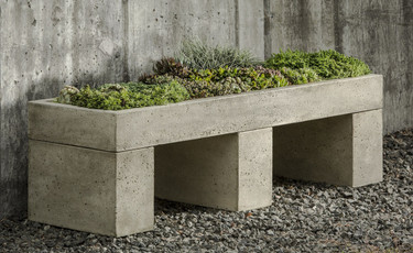 Trough Garden Bench - Material : Cast Stone - Finish : Verde