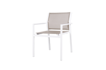 ALLUX Stackable Dining Armchair  - Powder-Coated Aluminum (white), Batyline Mesh Sling Seat/Back (light taupe)