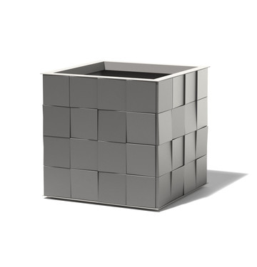 3D Aluminum Cube Planter - Material : Aluminum - Finish : Charcoal Grey