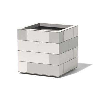Aluminum Tile Cube Planter - Material : Aluminum - Finish : Shell - Linen White, Tiles : Tonal Greys