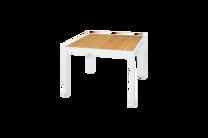 "ALLUX Dining Table 39""x39"" Teak Top - Material : Aluminum,Teak - Finish : White,Straight Slats"
