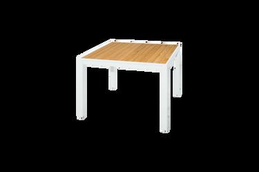 "ALLUX Dining Table 39.5"" x 39.5"" - Powder-Coat Aluminum (white), Plantation Teak Straight Slats (smooth sanded)"