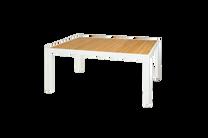 "ALLUX Dining Table 63""x39"" Teak Top - Material : Aluminum,Teak - Finish : White,Straight Slats"