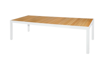 "ALLUX Dining Table 106""x39"" Teak Top - Material : Aluminum,Teak - Finish : White,Straight Slats"