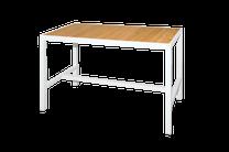 "ALLUX 59"" x 31.5"" Bar Table with Teak Top  - Powder-Coat Aluminum (white), Plantation Teak Straight Slats (smooth sanded)"