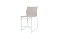 Allux Counter Chair - Powder-Coated Aluminum (White), Batyline (Light Taupe)