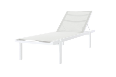 Allux Stackable Lounger - Powder-Coated Aluminum (white), Batyline (White)