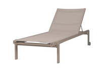 Allux Stackable Lounger - Powder-Coated Aluminum (taupe), Batyline (light taupe)