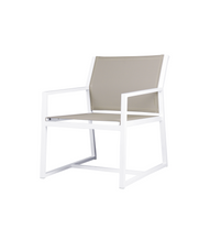 Allux Casual Chair - Powder-Coated Aluminum (white), Batyline Mesh Sling Seat/Back (Light Taupe)