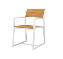 BAIA Dining Armchair - Material : Teak, Aluminum - Aluminum Finish : White