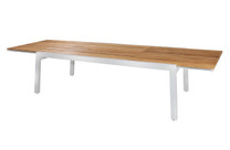 "BAIA Extension Table 90.5"" (Open) - Material: Teak, Aluminum (White)"