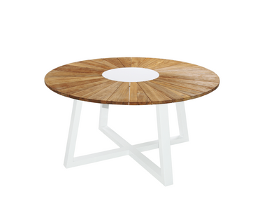 Baia round table 59 outdoor teak dining table with for Table th rotate
