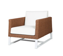 BAIA 1-Seater Sofa Armchair - Synthetic Wicker (Light), Aluminum (White), Sunbrella Canvas (White)