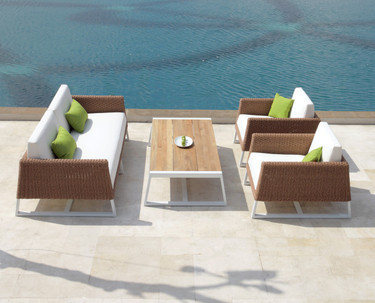 Baia Woven Collection Grouping: 1-Seater Sofa Armchair, 2-Seater Sofa, and coffee table