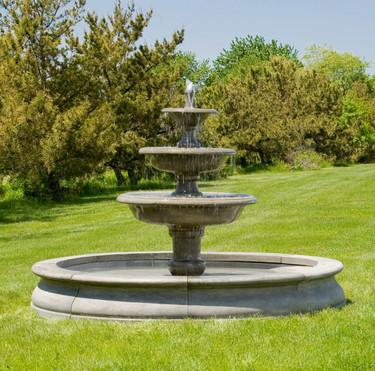 Newport Fountain - Material : Cast Stone - Finish : Greystone