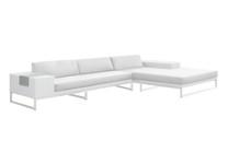 Jane Left Hand Corner Sofa Sectional - Stainless Steel, White Wicker, White Sunbrella Canvas Cushion