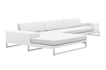 Jane Right Hand Corner Sofa Sectional - Stainless Steel, White Wicker, White Sunbrella Canvas Cushion