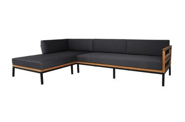ZUDU Asymmetric Corner Sofa Right Hand Chaise - Reclaimed Teak, Black Powder Coated Aluminum, Sunbrella Canvas