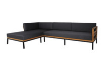 ZUDU Asymmetric Corner Sofa Right Hand Chaise - Reclaimed Teak, Black Powder Coated Aluminum, Sunbrella Canvas