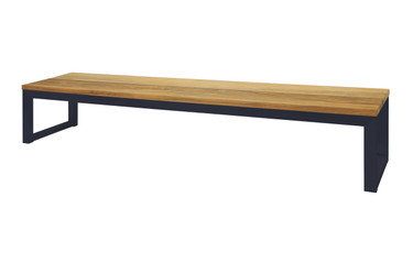 """OKO Bench 102.5"""" - Powdercoated Stainless Steel, Recycled Teak"""