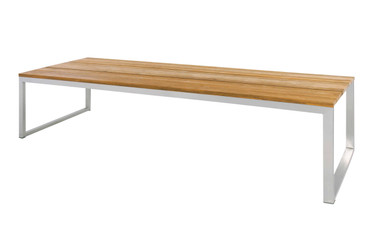 """ICON Dining Table 118"""" x 39.5"""" - Stainless Steel, Recycled Teak"""