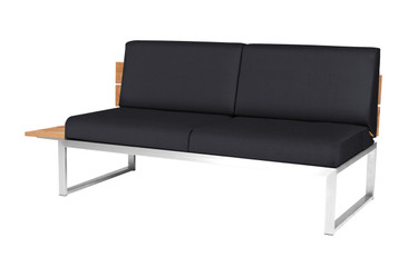 OKO Right Hand Sectional - Stainless Steel, Recycled Teak, Black Sunbrella Canvas (black)