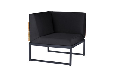 OKO Corner Seat - Powder-coated Stainless Steel (black), Recycled Teak, Sunbrella Canvas