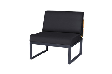 OKO Sectional Seat - Powder-coated Stainless Steel (black), Recycled Teak, Sunbrella Canvas