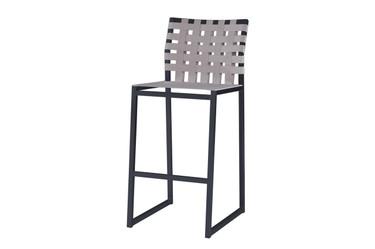 OKO Bar Chair - Powder-Coated Stainless Steel (black), Standard Batyline Seat Sling, Keops Webbing Back