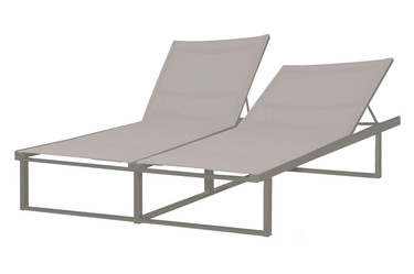 ALLUX Double Lounger - Powder-Coated Aluminum (taupe), Batyline (light taupe)