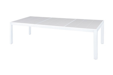 "ALLUX Dining Table 106.5"" x 39.5"" - Powder-Coat Aluminum (white), High Pressure Laminate (HPL)"