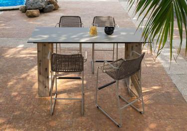 """AIKO Bar Table 79"""" x 27.5"""" with MANDA bar chairs - Drift look teak legs (natural), High Pressure Laminate Top (sandstone)"""
