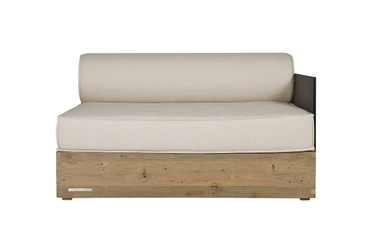 AIKO Comfort Module Left Arm - Drift-look teak legs (original), High Pressure Laminate (HPL) back/arm, Sunbrella cushions (white canvas)