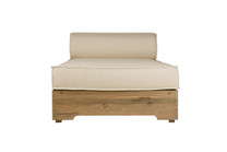 AIKO Lounger - Drift-look teak legs (original), Sunbrella cushion (white canvas)