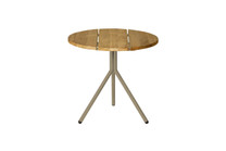 BONO Side Table - Powder-Coated Aluminum (taupe), Recycled Teak (brushed finish)
