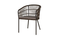 BONO Dining Chair - Powder-Coated Aluminum (black),  Olefin Cushion (Stone)