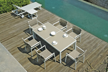 EKKA Stacking Armchair with ALLUX Dining Table and Lounger