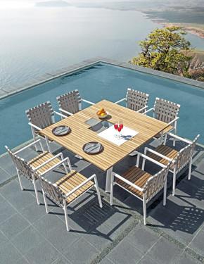 EKKA Square Dining Table with EKKA Stacking Armchairs