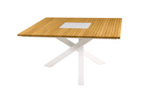 EKKA Square Dining Table - Powder Coated Aluminum (white), Plantation Teak Top