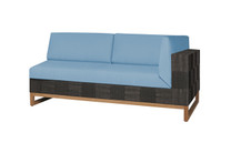 EKKA Left Hand Sectional  - Twitchell Textiline (Royal Black), Sunbrella Canvas Cushions (Mineral Blue)
